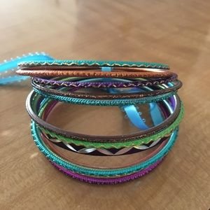 Jewelry - ⭐️ 2/$20 Colourful Sparkly Bangle Set